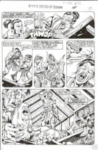 ERNIE CHAN Published Original Art SAVAGE SWORD of CONAN #132, pg #31 Sword fight