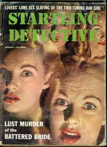 STARTLING DETECTIVE-2/1958-BATTERED BRIDE-LOVER'S LANE-SEX SLAYING- P/FR