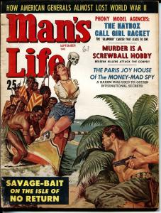MAN'S LIFE-SEPT 1960-SPICY BOUND BABE-Earl Norem cvr art-PULP FICTION-vg