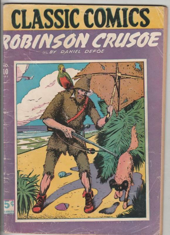 Classic Comics #10 (Jun-44) VG+ Affordable-Grade Robinson Crusoe