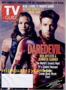 DAREDEVIL ELEKTRA TV Guide Magazine,Photo cv, Jennifer Garner, Ben Affleck, 2003