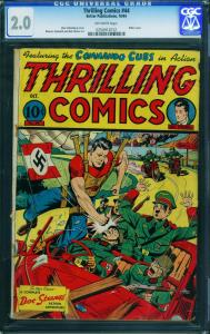 THRILLING  #44-cgc 2.0 HITLER cover-1944-ALEX SCHOMBURG-0258912012