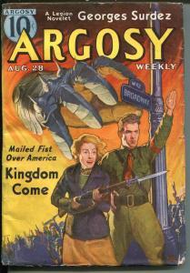 ARGOSY 8/28/1937-MUNSEY-WAR-RUDOLPH BELARSKI COVER-fn minus