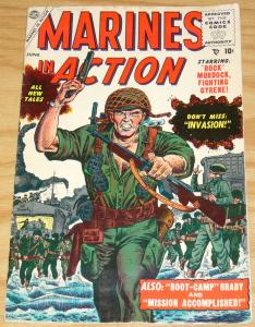 Marines in Action #1 VG+ june 1955 - rock murdock - korean war - boot camp brady