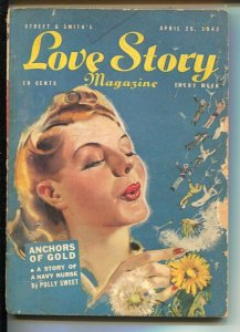 Love Story 4/15/1942-pin-up girl portrait cover-pulp stories-Anchors Of Gold-...