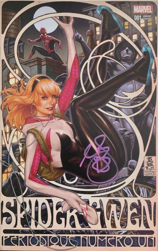 Spider-Gwen 1 comicsketchart variant signed in Pink Mark Brooks DF COA VF/NM.