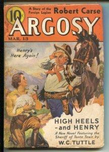 Argosy 3/12/1937-Munsey-pulp stories-W.C. Tuttle-Norbert Drist-VG