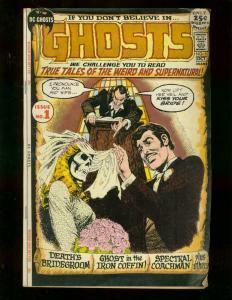 GHOSTS #1 DC GIANT 1971 HORROR SKULL COVR TATTOO TERROR VG