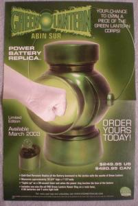 GREEN LANTERN REPLICA BATTERY Promo poster, 2003, Unused, more in our store
