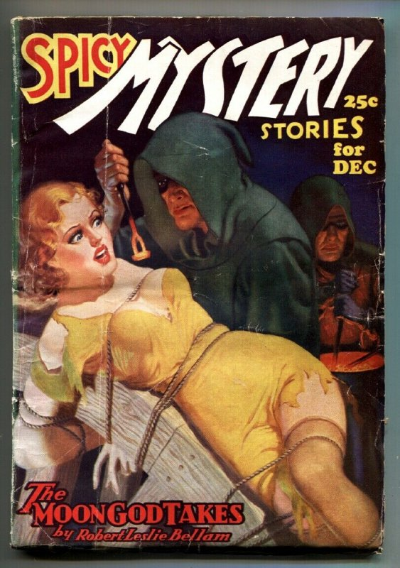 Spicy Mystery Pulp December 1936-Insane Torture Branding cover!