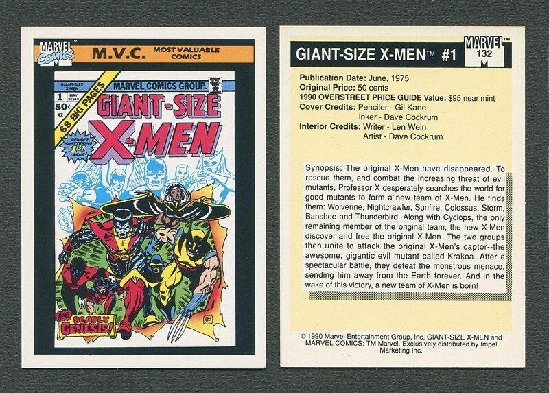 1990 Marvel Comics Card  #132 (Giant Size X-Men #1 Cover) / NM