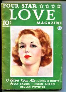 FOUR STAR LOVE #1-12/1936-PEGGY GADDIS-BEULAH POYNTER-HELEN AHERN-RARE-vg+