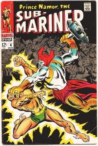 SUB-MARINER #4 (Aug1968) 7.5 VF-  Roy Thomas & John Buscema!  ATTUMA Strikes!!