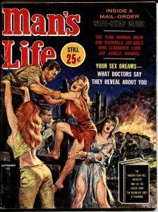 MAN'S LIFE PULP SEPT 1962-VIOLENT GGA EXPLOSION COVER vg