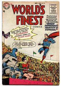 WORLDS FINEST #78 1955-DC SUPERMAN-BATMAN-GREEN ARROW-TOMAHAWK
