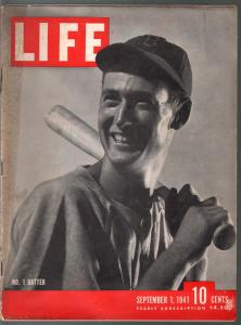 Life 9/1/1941-Ted Williams cover and photo story-FR