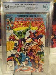 Marvel Super Heroes Secret Wars #1 - CBCS 9.4 - NM - White Pages - Blue Galactus