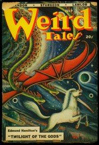Weird Tales Pulp July 1948- Matt Fox cover- Edmond Hamilton G+