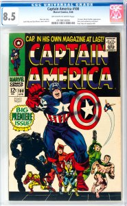 Captain America #100 CGC Graded 8.5 1st Issue. Black Panther appearance  Stor...