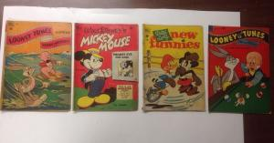 Mickey Mouse Bugs Bunny Donald Duck Dell 13 Book Lot Set Run 1947-1953 2.0-4.0