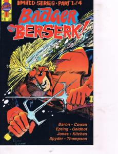 Badger Goes Berserk Complete First Comics Ltd Series # 1 2 3 4 Baron Cowan TW26