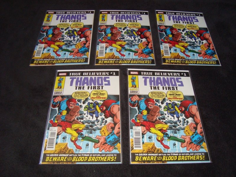 TRUE BELIEVERS THANOS THE FIRST 10 COPIES (2018) REPRINTS IRON MAN # 55