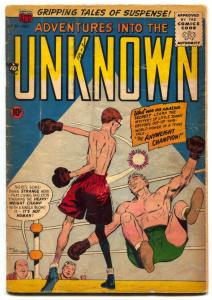 Adventures Into The Unknown #91 1957- ACG -boxing cover VG-