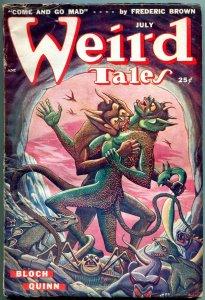 Weird Tales Pulp July 1949- Matt Fox cover- Robert Bloch- Seabury Quinn VG