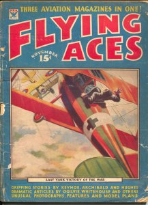 Flying Aces 11/1934-Philp Strange-hero pulp-Donald E Keyhoe-G
