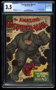 Amazing Spider-Man #41 CGC VG- 3.5 Cream To Off White 1st Rhino!