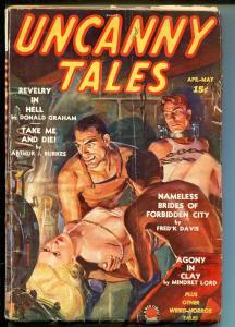 UNCANNY TALES 4/1939-1ST ISSUE-FEMALE TORTURE & DECAPITATION-SCHOMBURG ART-good