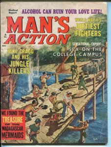 Man's Action 5/1965-spicy issue-war-cheesecake-naked boxing-vampire-VG