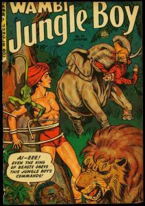 Wambi Jungle Boy #14 1951- Lion & elephant cover- Fiction House POOR