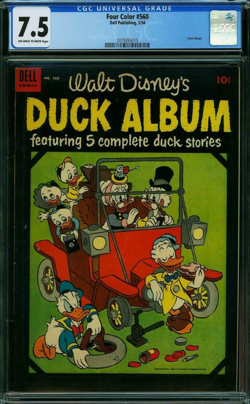 Four Color #560 CGC 7.5 Walt Disney's Duck Album PAUL MURRY & TONY STROBL 1954