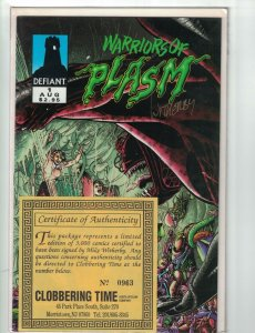 Warriors of Plasm #1 VF signed by mike witherby with coa (#0963/3000)
