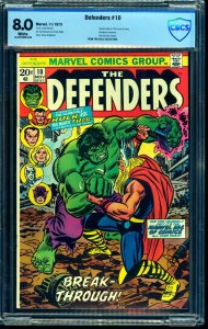 Defenders #10 CBCS VF 8.0 White Pages Marvel Comics