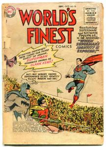 WORLDS FINEST #78 1955- Batman- Superman- Green Arrow POOR