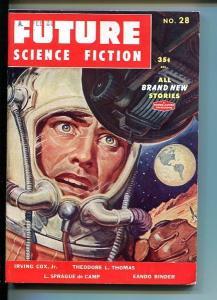 FUTURE SCIENCE FICTION-1955-#28-BELARSKI COVER-BINDER-DE CAMP VF