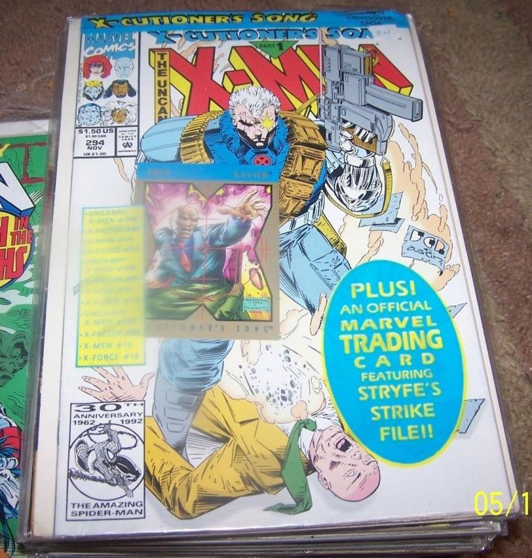 UNCANNY X-MEN #294 x cutioners song pt 1 cable + PREY CARD xavier