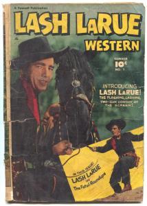 Lash LaRue Western #1 1949-Golden Age-missing centerfold