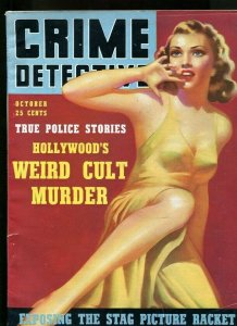 CRIME DETECTIVE-10/1939-CULT MURDER-SEXTET-SLAVE GANG-DICE GIRL-CRIME LAB VG