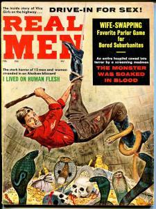 Real Men 2/1962-bizarre torture-cannibalism-skull-cobra-Syd Shores-VG/FN