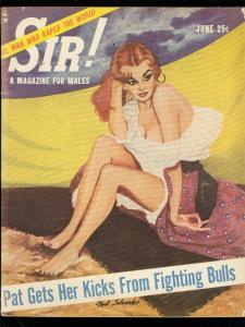 SIR! PULP JUNE 1955-SPICY GIRL COVER-BULL FIGHTING-UFO- VG