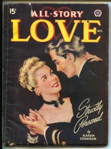 All Story Love 10/1946-pin-up girl cover-female pulp fiction authors-black cover