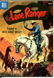 Lone Ranger #102 1956-Dell-painted cover-Wild Horse Valley-FN/VF