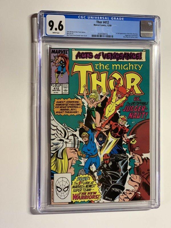 Thor 412 cgc 9.6 wp marvel 1989