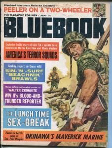 Blue Book 9/1965-spicy-violent- cheesecake-Walter Cronkite-WWII-Marines-G+