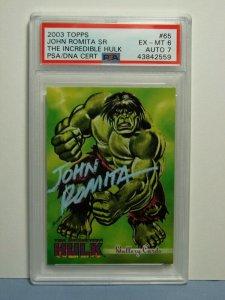2003 Topps Hulk Gallery Trading Card AUTOGRAPHED JOHN ROMITA SR PSA DNA L@@K!