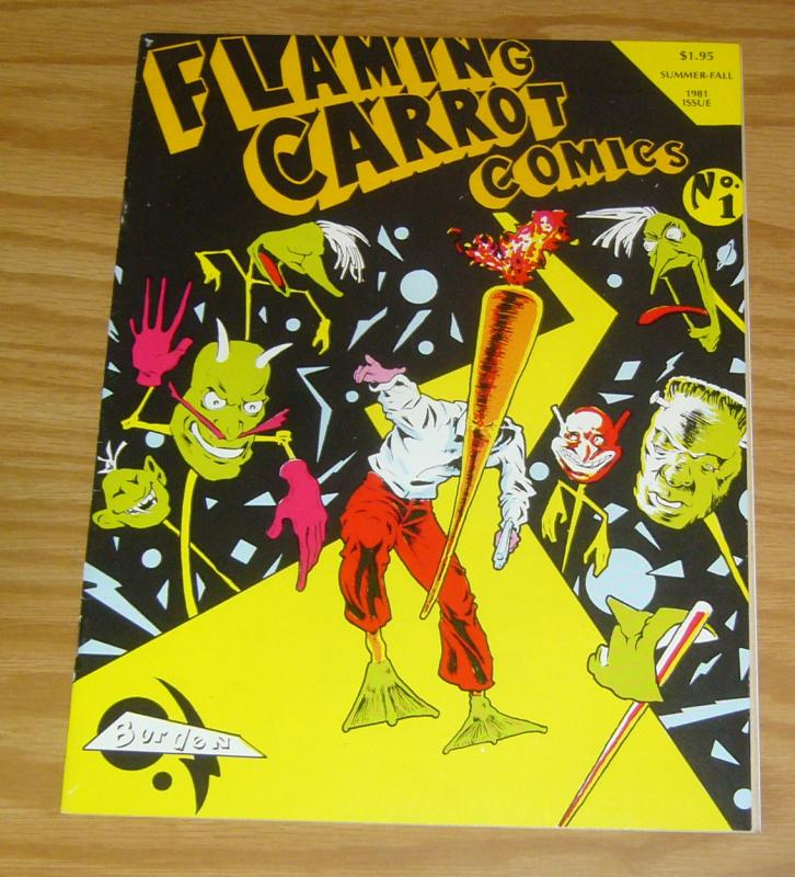 Flaming Carrot Comics #1 FN signed by bob burden with a fun message [#2964/6500]