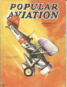 Popular Aviation FEB/1934--ROSCOE TURNER-attack-aviation stunts-WW1-pulp thrills